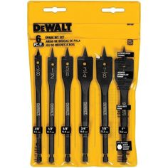 DEWALT Spade Bits are designed to meet the demands of professional contractors. These high-performance bits feature thicker shanks for reduced bit breakage. Dual, precision-ground cutting edges provid