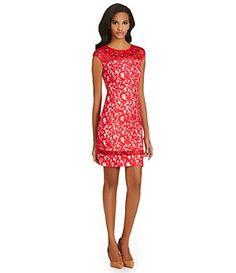 Adrianna Papell Cap-Sleeve Lace Sheath Dress | Dillard's Mobile