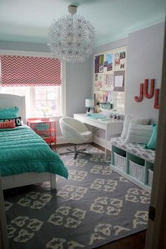 Coral and turquoise themed bedroom design for teenage girls. Bedroom and workplace just in one room. Functional and beautiful as its own. The pandent... Love it in my room!