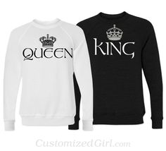 Matching Couple Shirts - King and Queen. I'm so not into couple shirts but I like this since Declan's always asking if Dustin and I are the king and queen Matching Couple Outfits, Matching Couples, T Shirt Yarn, T Shirt Diy, Paar Style, Boyfriend Girlfriend Shirts, One Direction Shirts, Cut Up Shirts, Party Shirts