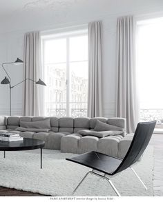 The minimalist Living Room of a Paris Apartment, designed by Jessica Vedel. The minimalist Living Room of a Paris Apartment, designed by Jessica Vedel. Paris Apartment Interiors, Apartment Interior Design, Living Room Interior, Modern Interior Design, Living Room Decor, Parisian Apartment, Modern Living Room Curtains, Lounge Curtains, Minimal Apartment