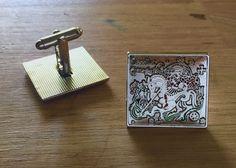 The saint George and the dragon cufflinks (silver version) / Manžetové knoflíčky se svatým Jiřím a drakem (stříbrná verze)