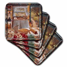 3dRose Home cooking and country art, apple pie and kitchen art, Ceramic Tile Coasters, set of 4