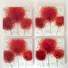 Red fused glass coasters with poppy flowers - Fired Creations                                                                                                                                                      More