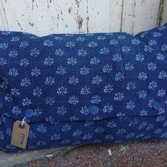 Resist Indigo Dyed Bolster Vintage Linen Cushion Covers