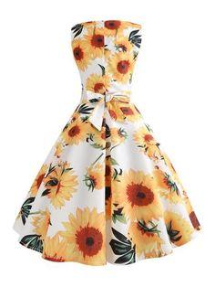 c73475acc0 Yellow And White 1950s Sunflowers Dress