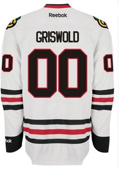 Chicago Blackhawks Mens Clark GRISWOLD #00 Premier Road Jersey with AUTHENTIC TACKLE-TWILL LETTERING