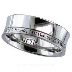 Geti Concave Split Titanium Ring With Your Engraving