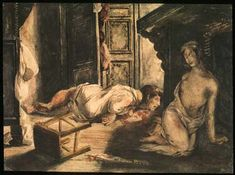 """Delacroix, """"Bride of Lammermoor""""~Ghastly painting. Lucy has been forced into marriage with a man she doesn't love. On her wedding night she goes mad, kills her groom, and then dies of whatever mad murderesses die of."""