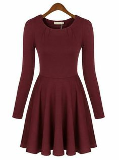 Red Round Neck Long Sleeve Pleated Dress...this would be perfect for a casual family Christmas party!
