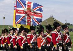 The Lion's Mound of Waterloo is seen as re-enactors train in the Allied Bivouac camp durin...