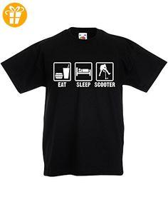 Eat Sleep Scooter, Kind-druckten T-Shirt - Schwarz/Weiß 9-11 Jahre (*Partner-Link)