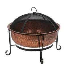 CobraCo - Vintage Copper Fire Pit - Fire bowl measures 26 in. H with spark guard cover. 100 percent solid copper with hand crafted hammered texture finish. Copper Fire Pit, Metal Fire Pit, Copper Wood, Wood Burning Fire Pit, Fire Pit Bbq, Garden Fire Pit, Portable Fire Pits, Round Fire Pit, Gas Grill Covers