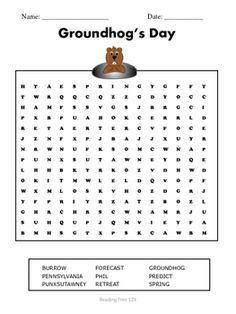 A Groundhog's Day Puzzle to celebrate our favorite furry forecaster.See related products at Reading Tree 123: Groundhog's Day Reading Comprehension Passage & Activitieshttps://www.teacherspayteachers.com/Product/Groundhogs-Day-Reading-Comprehension-Passage-and-Activities-2344101