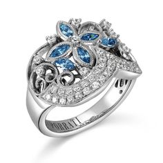 Porrati, Catania Collection, 14K White Gold Sapphire Engagement Ring, 3/8 ctw.