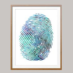 Fingerprint poster fingerprint illustration Wall Art anatomy art science art gift fingerprint Wall decor [N492] Giclee print from original watercolor Sizes:16x20, 18x24, 24x36 Packed for shipping with