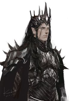 Melkor or Sauron 👑 Comment your views. High Fantasy, Dark Fantasy Art, Medieval Fantasy, Fantasy Artwork, Fantasy Queen, Elves Fantasy, Fantasy Character Design, Character Design Inspiration, Character Art