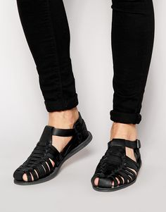 Image 1 of ASOS Gladiator Sandals in Leather-SIZE 10