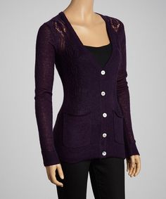 Russian Purple Pointelle Stitch Cardigan