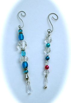 Beaded Christmas Ornaments Set of Two Icicle Style by MiscKDesigns, $12.50
