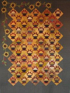 Scrappy Quilts, Quilting, Harvest Basket, Golden Harvest, Border Ideas, Basket Quilt, Pattern Ideas, Applique Quilts, Cheddar