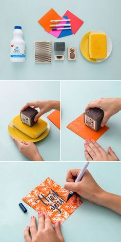 DIY your own stationery in just a few simple steps. 1. Pour bleach onto a plate and place a sponge on top of the bleach. 2. Cut your card stock to create a card and stamp away! 3. Let it dry and spice it up with some fun typography.