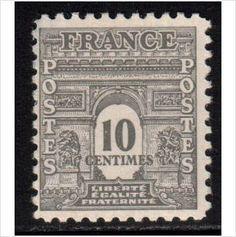 France YT 621 - Scott 476, 1944 Arc de Triomphe 10c MNH** stamps sur le France…