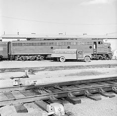 [Missouri Pacific, Diesel Electric Passenger Locomotive No. 41, Refueling from Gulf Oil Truck] | by SMU Central University Libraries