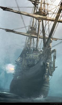 Ghost Ship - without sails hoisted, there be ghost winds moving her! But she be a real pirate ship, cuz she be a-firing her cannons from starboard. Prepare fer battle, me buckos! Bateau Pirate, Old Sailing Ships, Ghost Ship, Black Sails, Pirate Life, Sail Away, Set Sail, Tall Ships, Pirates Of The Caribbean
