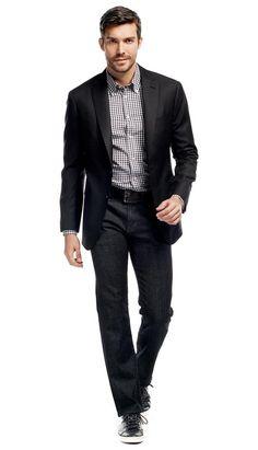 Black Hopsack Jacket  #menswear #mensfashion #graysuit #mensstyle #glennplaid #wedding #weddingsuit #groom #groomssuit #groomsmen #groomsman #weddingstyle #suitandtie #bluesuit #plaidsuit #strippedsuit #pinstripes #tux #tuxedo #weddingtuxedo #blacktux #plaid #plaidjacket