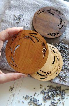 Set of 4 - Engraved Wood Coasters - Lavender