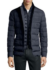 "Moncler ""Ferrand"" two-layer down blazer in lightweight tech fabric. Top layer, notch lapel; two-snap front. Bottom layer, stand collar; front zip. Long sleeves; logo patch at left. Front flap pockets;"