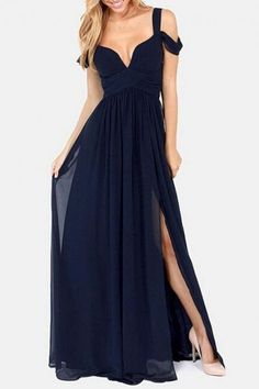 #Oasap.com - #oasap High Slit Chiffon Maxi Dress - AdoreWe.com