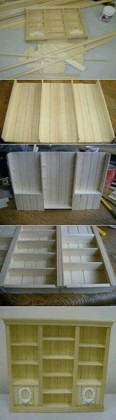 Barbie furniture diy popsicle sticks doll houses 36 ideas for 2019 Miniature Crafts, Miniature Houses, Miniature Dolls, Miniature Furniture, Doll Furniture, Furniture Ideas, Diy Dollhouse Furniture Easy, Furniture Makeover, Barbie Doll House