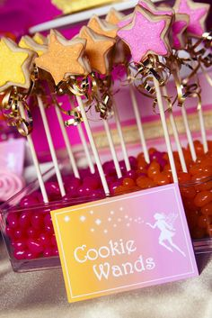 Cute cookie wands at a Fairy Garden Party #fairy #gardenparty