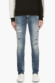 Nudie Jeans Blue Organic Distressed Tight Long John Jeans for men | SSENSE