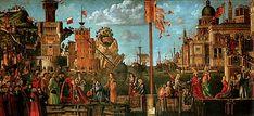 Rencontre des fiancés et départ des pèlerins, Le fils du roi d'Angleterre et la fille du roi de Bretagne se rencontrent pour la première fois. Ils vont partir pour Rome pour la bénédiction Papale. On voit la flotte, qui va les accompagner, au deuxième plan du tableau. Un bateau sur le flan est en train de se faire réparer.