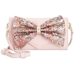 Betsey Johnson Bow Sequin Wallet Crossbody (£31) ❤ liked on Polyvore featuring bags, handbags, shoulder bags, blush, pink shoulder bag, bow handbag, pink sequin purse, crossbody shoulder bags and pink crossbody purse