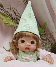OOAK Sculpted Baby Girl Polymer Clay Leprechaun Fairy Elf Art Doll Poseable #HandsculptedPolymerArtDoll