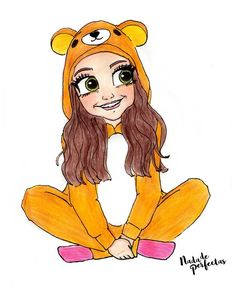 "A new drawing of Karol with her Rilakkuma pajama! I love you so so so much Karol! I'm super, super but super grateful to each and every one of you, thanks for OMG! thanks for so much love! (She liked and commented ""Me encanta ❤❤❤"") Bff Drawings, Kawaii Drawings, Disney Drawings, Cartoon Drawings, Easy Drawings, Drawing People, Drawing S, Drawing Faces, Son Luna"