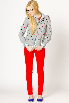 A-Thread's light-hearted Bliss Dot Cardi, looks fab with these colorful jeans (and blue patents!)