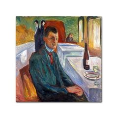 Trademark Fine Art 'Selfportrait With Bottle Of Wine' Canvas Art by Edvard Munch, Size: 24 x 24, Multicolor