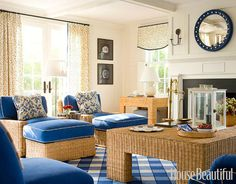 I love the fabric topped wicker ottoman, and the classic convex mirror!  I want both!