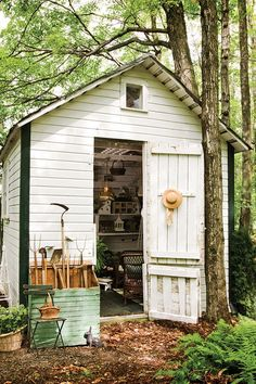 Rescued from ruin, this roomy potting shed houses a gallery of garden-related collections along with potting supplies—and the occasional woodland critter.