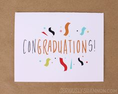 "Fun Graduation Card ""Congraduations"" Greeting Card by seriouslyshannon on Etsy $4.50"