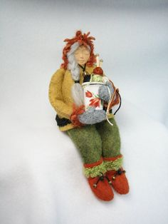 The Knitter - wool felt sculpture by sweetgrasstradingco / Betsey Harries