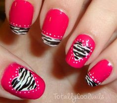 Zebra Nail Art With Red Color Combination Nail Art, Nail Polish Designs by Essie Looks. Create a beautiful at-home manicure with nail polish & nail art desig. Pink Zebra Nails, Zebra Nail Art, Hot Pink Nails, Fancy Nails, Love Nails, Pretty Nails, Purple Zebra, Style Nails, Sparkle Nails