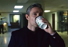 Daddy needs his coffee- this caption is so odd and funny.