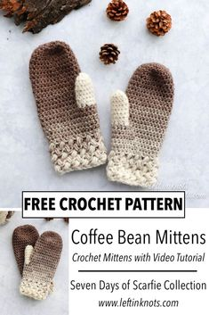 Crochet Coffee Bean Mittens Free Pattern The bean stitch and Lion Brand Sdcarfie yarn are a match made in heaven! The Coffee Bean Mittens ar Bean coffee crochet free mittens pattern winterbastelnkinder wintercoffee winterdeko winterflowers winterfot Crochet Mittens Pattern, Crochet Gratis, Crochet Gloves, Free Crochet, Crochet Baby, Knit Crochet, Crochet Winter, Chrochet, The Mitten