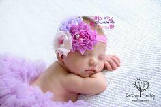 Baby Headband Shabby Flowers Lavender Dreams by littlelambshop, $9.45